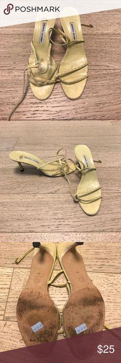 Manolo Blahnik Sandals Manolo Blahnik Sandals - Size 41 - Kitten Heel - Yellow - Good Condition Manolo Blahnik Shoes