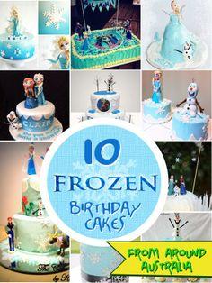 Single tier Frozen themed birthday cake the ruffles were white