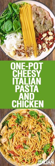 One-Pot Cheese Italian Pasta and Chicken from The Slow Roasted Italian is a rich and savory dish bursting with your favorite flavors! This simple recipe features a creamy sun-dried tomato sauce that is cooked right into the pasta in this amazing one-pot dish. Toss it all in a pot and let it cook. It's so easy that it just about cooks itself. Now that's my kind of meal!!! One Pot Dishes, One Pot Meals, Pasta Dishes, Food Dishes, Easy Meals, Cooking Dishes, Pasta Food, Main Dishes, Italian Recipes