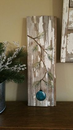 Turquoise - Teal Hand painted Christmas decoration, GIFTS UNDER Pine Branch with Aqua Bulb, Reclaimed barnwood, Pallet art, Shabby chic Christmas Wood Crafts, Christmas Signs Wood, Christmas Gift Decorations, Best Christmas Gifts, Rustic Christmas, Christmas Art, Christmas Projects, Winter Christmas, Holiday Crafts