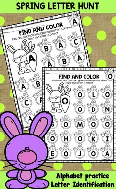 Beautiful Spring Bunnies letter search. Letter identification, Alphabet review and beautiful spring coloring material!   Uppercase letters A through Z, perfect for class work, at literacy centers, warm-up time, as busy sheets or extra alphabet practice homework. Designed for PreK and Kindergarten children. No preparation needed - just print and use! Alphabet Activities, Math Activities, Learning Letters, Kindergarten Lessons, Kindergarten Classroom, Letter Identification, Teacher Resources, Teaching Ideas, Preschool Special Education
