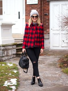 Buffalo check coat with black ripped skinny jeans