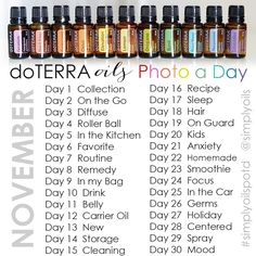 Share daily snapshots of how you use essential oils during our November photo a day challenge via A Bowl Full of Lemons #doterra #essential oils