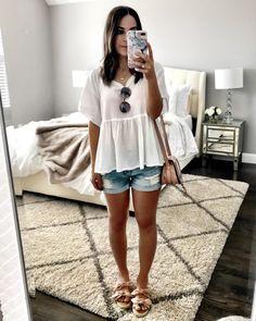 Cute white & blush casual outfit | White peplum tee, jean shorts, blush wedges, & Chloe crossbody