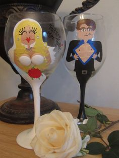 Bride and Groom Customized Wine Glass Set, Toasting glasses, Wedding Gift, Bridal Shower Gift on Etsy, $52.00
