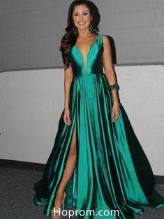 A Line Green V Neckline Prom Dresses Slit Evening Formal Dresses 751426c8f2ea