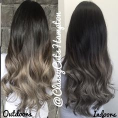 """""""Here's an indoor and outdoor shot of Alvina's smokey grey blonde. Ladies remember Greys/silvers are blue based so the color will appear 2-3shades darker…"""""""
