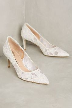 White lace, closed-toe pumps that are on the shorter end! Extra 25% off right now!