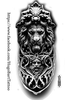 lion tattoo stoned shin ghotic frame window face tattoo