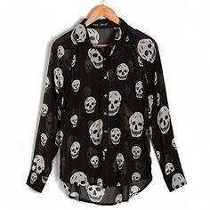Skull Long Sleeve Top Sheer Chiffon Lapel Loose T-shirt Blouse