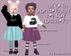 Toddlers Alice in Wonderland Set for The Sims 4 Sims 4 Toddler Clothes, Sims 4 Cc Kids Clothing, Toddler Girl Outfits, Kids Outfits, Toddler Cc Sims 4, Girl Clothing, Toddler Girls, Sims 4 Mods, Sims 1