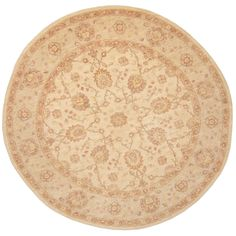 Herat Oriental Afghan Hand-knotted Vegetable Dye Oushak Ivory/ Light Green Round Rug