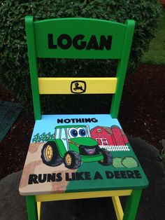 Kids hand painted chair with John Deere theme. Painted in Greens and Yellows classic to John Deere tractor. Custom ordered for boys birthday.
