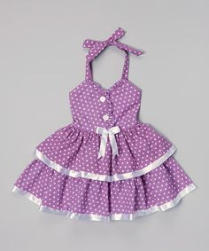 Look at this Purple & White Polka Dot Halter Dress - Toddler & Girls by Lele for Kids Toddler Girl Dresses, Little Girl Dresses, Toddler Girls, Girls Dresses, Summer Dresses, Baby Dresses, Purple Flower Girls, Purple Lace, Little Fashionista