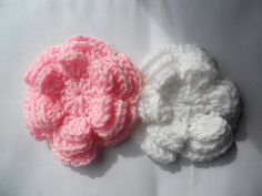 Applique Big crochet flower in pink   and by needlepointnmore,