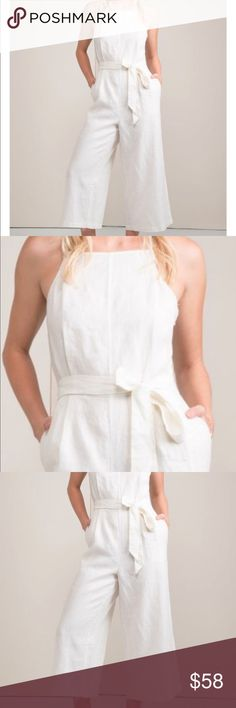 NWT Greylin Wide Culottes Jumpsuit Size S Brand new, never been worn!   Online currently for $180  High square neck Wide self band tied at waist Spaghetti straps On seam pockets Wide leg culotte Color: Available in White & Black Self: 100% Linen Greylin Pants Jumpsuits & Rompers