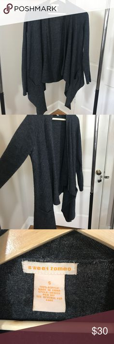Asymmetrical cardigan in dark grey Asymmetrical cardigan in dark grey  Size Small  Pre loved, very clean Sweet Romeo Sweaters Cardigans