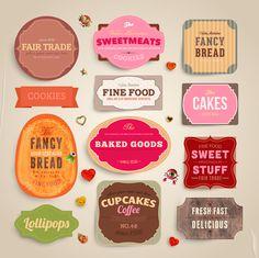 Cute Food Labels design vector 02 - Vector Food free download