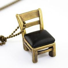 Sweet Chic Style Beads and King Print Embellished Chair Shape Necklace For Women
