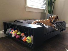 This is an amazing sleek and modern pet bed. Looks like it's floating, but don't. - This is an amazing sleek and modern pet bed. Looks like it's floating, but don't fret, this bed - Animal Room, Diy Dog Bed, Large Dog Bed Diy, Large Dogs, Small Dogs, Dog Furniture, Dog Rooms, Dog Crate, Pet Beds