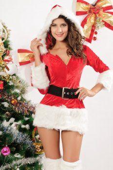 Kerstmis kleding ( muts voetring stuk jurk met V-hals jurk kerst kostuum )