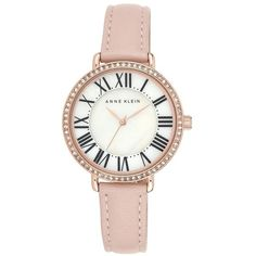 Anne Klein Crystal Bezel Round Leather Strap Watch, 36mm $75