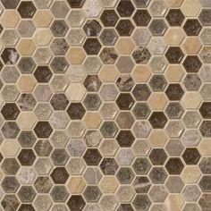 """Kensington 1"""""""" Hexagon Mosaics on 12x12 Sheet"""