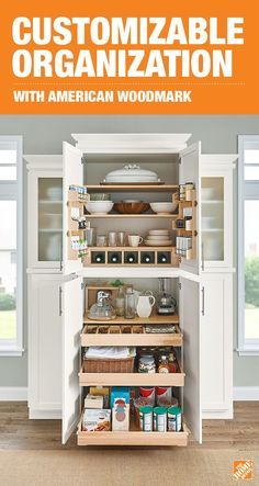 Create your dream kitchen with customizable American Woodmark cabinets. With slide-out drawers that optimize vertical space, you can have an innovative storage solution for all your cooking supplies and utensils. Plus, your kitchen will look more stylish Kitchen Redo, Kitchen Pantry, New Kitchen, Kitchen Dining, Kitchen Cabinets, Farmhouse Cabinets, Space Kitchen, Grey Cabinets, Cupboards