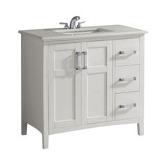 Simpli Home Winston 36 in. Vanity in Soft White with Quartz Marble Vanity Top in White-NL-WINSTON-WH-36-2A - The Home Depot