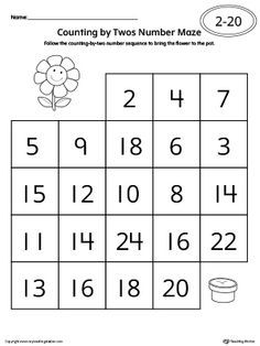 **FREE** Counting by Twos Number Maze Worksheet Worksheet. Practice skip counting by in this number maze worksheet. Maze Worksheet, Letter Tracing Worksheets, Printable Preschool Worksheets, Printable Numbers, Number Worksheets, Counting Worksheet, Free Printable, Printables, Numbers Kindergarten