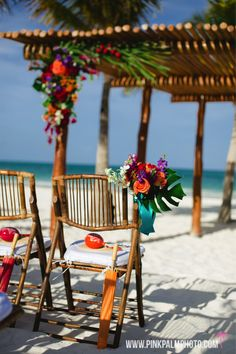 Unique Indian wedding held at Secrets Maroma in the Riviera Maya. They wanted a tropical wedding with unique Hindu inspired details and colorful florals. #mishkadesignsmexico