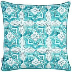 Elizabeth Scarlett Turquoise Tilework Cushion - 45x45cm ($65) ❤ liked on Polyvore featuring home, home decor, throw pillows, blue, turquoise throw pillows, turquoise home accessories, blue toss pillows, turquoise accent pillows and blue throw pillows