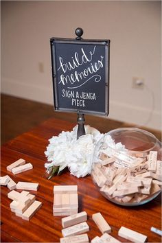 jenga wedding guestbook idea #weddings #rusticweddings #weddingideas #weddingreception