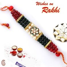 Picture of Bracelet Rakhi with Pearls , Zardosi and Onyx Beads by Online Rakhiwala Handmade Rakhi Designs, Rakhi Making, Happy Rakshabandhan, Raksha Bandhan, Beaded Jewelry Patterns, Picture Design, Diy Jewelry, Jewellery, Diy And Crafts