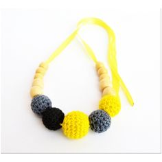 Buy Love Crochet Art  Necklace with wooden bead Nursing Teething Necklace Handmade - Yellow Black by Love Crochet Art, on Paytm, Price: Rs.299