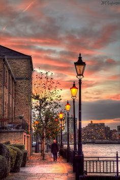 Evening lights on Deptford Pier, London, England.