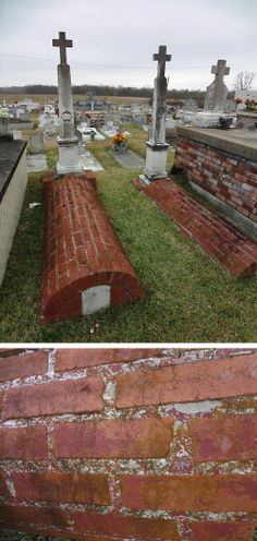 A pair of obelisks with little vaults in front. Remnants of the redwash that once covered the brick is still in evidence.  Louisiana Natchitoches Cemetery  #grave #tomb