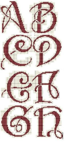 Alphabet cross stitch chart. ABC script writing