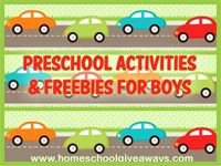 Boy Themed Preschool Activities and Freebies