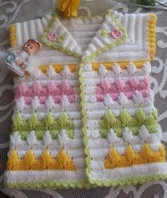 Discover thousands of images about Free baby crochet for collard sweater. Diy Crafts Knitting, Knitting For Kids, Baby Knitting Patterns, Baby Patterns, Crochet Projects, Hand Knitting, Crochet Patterns, Crochet Girls, Crochet For Kids