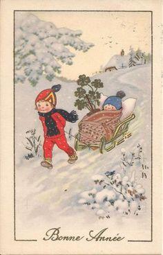 AK Neujahr FRITZ BAUMGARTEN Kinder mit Schlitten Schnee Vogel Kleeblatt 1948 | eBay