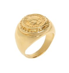 Large signet ring with French woman head etching 14K Gold plated, 14K Gold Filled large Pinkie Signet Ring French women