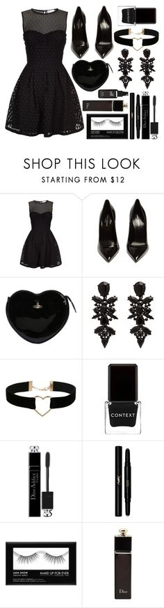 """""""Heart Lace Dress"""" by princess13inred ❤ liked on Polyvore featuring RED Valentino, Yves Saint Laurent, Vivienne Westwood, Miss Selfridge, Context, Christian Dior and Old Navy"""
