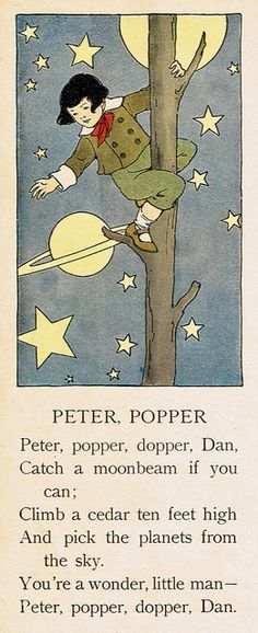Peter Popper - nursery rhyme, Illustration by Blanche Fisher Wright Children's Book Illustration, Book Illustrations, Old Nursery Rhymes, Vintage Moon, Fisher, Tarot, Children's Literature, Moon Art, Moon Child