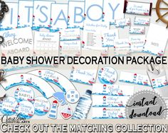 Decorations Baby Shower Decorations Nautical Baby Shower Decorations Baby Shower Nautical Decorations Blue Red party ideas, prints DHTQT #babyshowerparty #babyshowerinvites