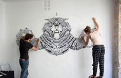 Mural Tattoos by Alex & Marine Talented French couple of artist Alex & Marine (Facebook) use dot-tattoo technique and gold-leaves stamping to create epic murals for different locati...