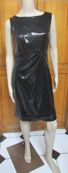 Vince Camuto Black Sequin Sleeveless Cocktail Knee Length Dress Sz 0 NWT #VinceCamuto #Sheath #Cocktail