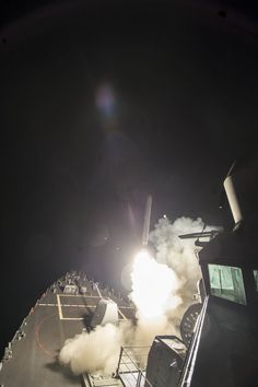 MEDITERRANEAN SEA (April 7, 2017) The guided-missile destroyer USS Ross (DDG 71) fires a Tomahawk land attack missile April 7. Ross is forward-deployed to Rota, Spain, and is conducting naval operations in the U.S. 6th Fleet area of operations in support of U.S. national security interests in Europe and Africa. (U.S. Navy photo by Mass Communication Specialist 3rd Class Robert S. Price/Released)