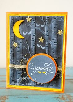 handmade Halloween card : Monday Montage Week 51 : Julie's Blog ... nighttime scene with embossed birch trees ... luv the bright yellow/orange matting and moon ... great use of the folder on black with white shading and white stamped eyes in the background ... Stampin' Up!