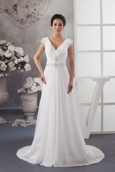 Chiffon Brush Train Ruffles Cap Sleeve Beaded V-neck Wedding Dress